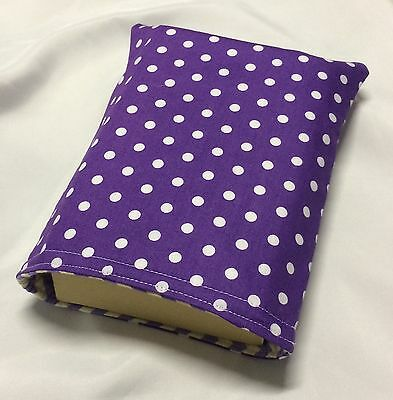 Paperback Book Pouch Cover Sleeve Holder - Purple with White Polka Dots Spots