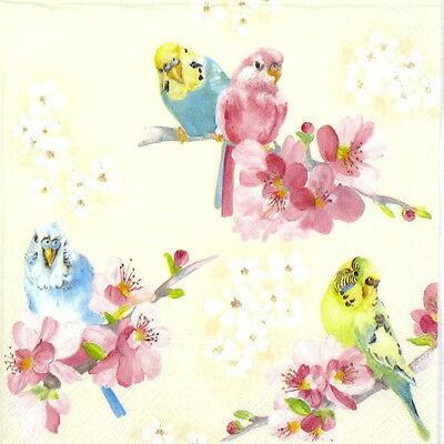 4 Single Lunch Table Party Paper Napkins for Decoupage Decopatch Craft Parakeets