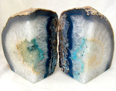 Blue Agate and Quartz Crystal Bookends Extra Large Polished Geode Section 2469g