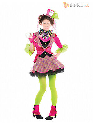 Girls Mad Hatter Costume Tea Party Teen Fancy Dress  Book Day Week Outfit Kids