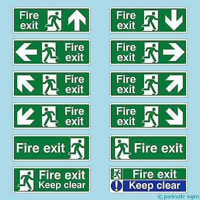 British Standard Fire Exit Signs (300mmx100mm) - ALL DIRECTIONS - FREE POSTAGE