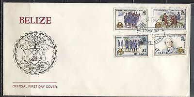 NATIONAL GIRL GUIDES ANNIVERSARY ON BELIZE 1987 Sc 873-876 on FDC