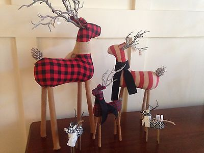 Pottery Barn Fabric Reindeer  Set Of 5 Sold Out  Handmade Nwts