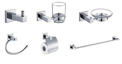 Flux 6 Piece Bathroom Accessory Set Accessories Set Soap Dish, Towel Rail etc
