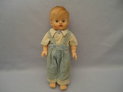 """Rubber Old Vintage HD 11"""" Baby Boy Squeak Doll with Blue Corduroy Overalls AS IS"""