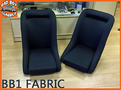 Pair BB1 Black Fabric Clubman Bucket Sports Seats For CLASSIC CARS