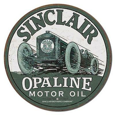 Sinclair Gasoline Opaline Motor Oil Round Retro Race Car Tin Metal Sign