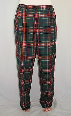 Vintage 70's Women's ALJEAN Red Green Tartan Plaid Wool Pants Trousers Size 14