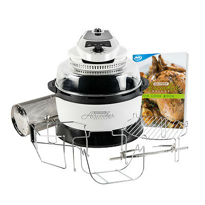 JML White Halowave Oven Aircooker Deluxe Halogen Cooking Rotisserie Function 9 P
