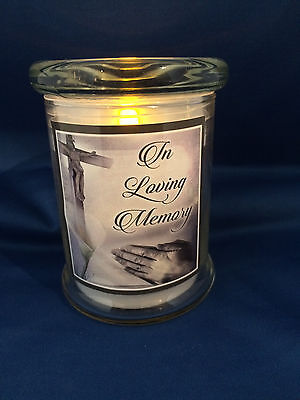 LED Grave Light in Glass Jar Flickering Candle In Loving Memory