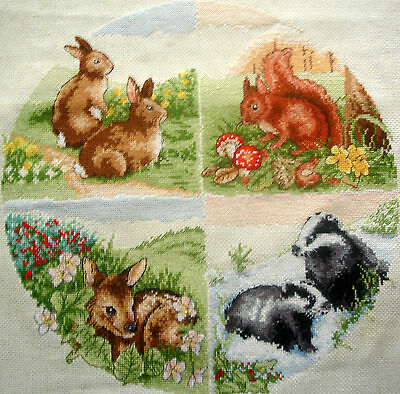 Anchor Completed Counted Cross Stitch Unframed Picture British Wildlife Seasons