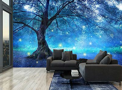 Big Tree Blue Fairy Mystic Forest Wall Mural Photo Wallpaper GIANT WALL DECOR