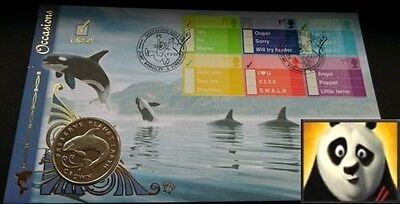 1996 ISLE OF MAN 1 Crown Leaping Killer Whale First Day Coin Cover + COA