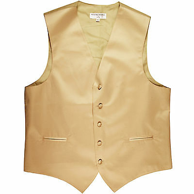 New polyester men's tuxedo vest waistcoat only solid wedding prom formal Beige