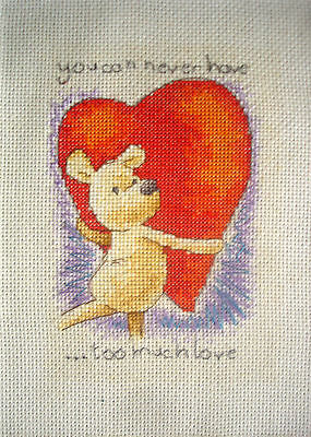 Anchor Completed Counted Cross Stitch Unframed Picture Never Too Much Love