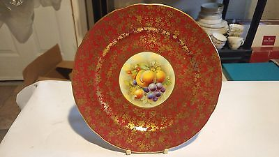 """RARE Hammersley Handpainted Signed R. Band 8 1/4"""" Fruit Center Cabinet Plate"""