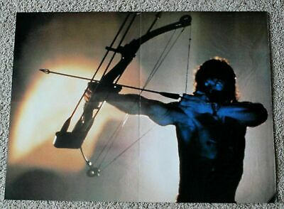 Sylvester Stallone 1980s Rambo Crossbow  Shirtless Action Magazine Poster GVG