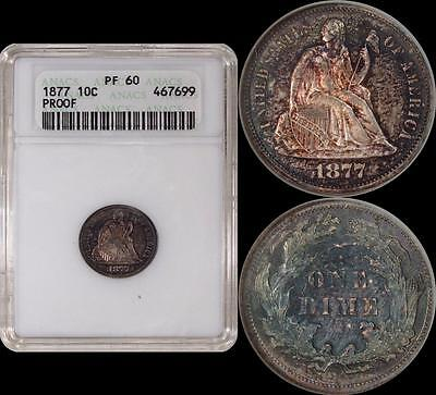 1877 Seated Liberty Dime ** ANACS PF60 ** PR60 ** Toned Surfaces > COLOR!!