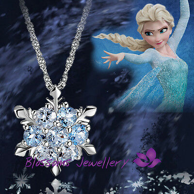 925 Sterling SILVER Frozen Princess ELSA  Blue SNOWFLAKE Crystal NECKLACE S1036