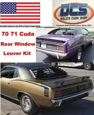 1970 1971 Cuda Barracuda Rear Window Louver Kit NEW USA MoPar