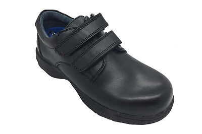 Boys Shoes Gro-Shu Vienna Black Hook and Loop School Shoe Size 10-1 Leather New