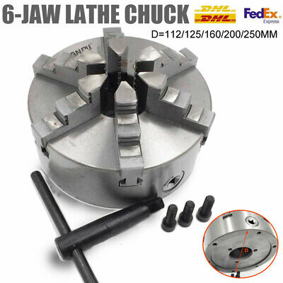 Lathe Chuck 100/125/160/200/250MM 6Jaw Self-Centering Lathe Part fr Metalworking