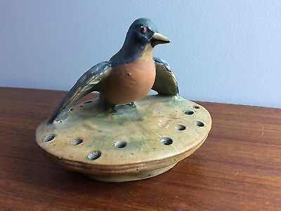 RARE Weller Pottery Woodcraft Bird Form Flower Frog - Red Breast Robin