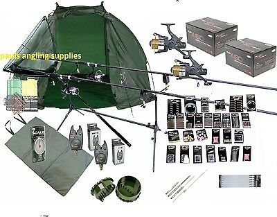 Carp Fishing Kit / Set Rods Reels Tools Mat Shelter  GIANT Accessory Pack