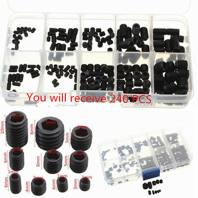 240 Socket Screw Assortment Allen Head Hex Set Grub Kit M3 M4 M5 M6 M8 Grade 8