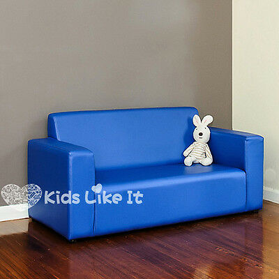 KIDS BOYS Blue Timber PVC Leather 2 Seater SOFA Couch LOUNGE Childrens FURNITURE