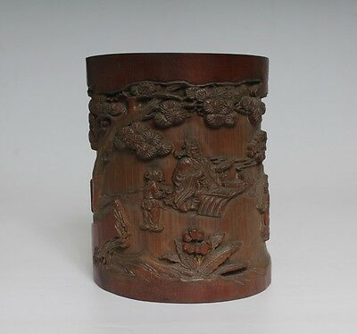 Very Rare Chinese Hand Carved Bamboo Brush Pot (L817)