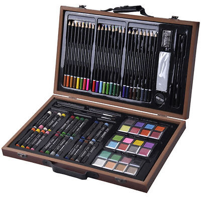 New Gift For Kids Children 80-Piece Deluxe Art Set Drawing painting w/ Wood Case