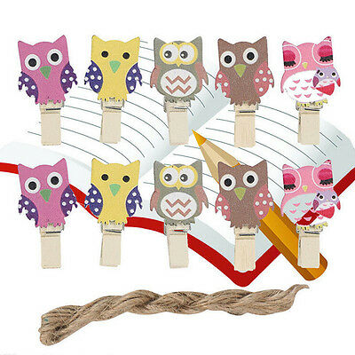 10 Mini Pegs Owl Wooden Craft Pegs Card Holder Photo Hanger Clothes Clip EW