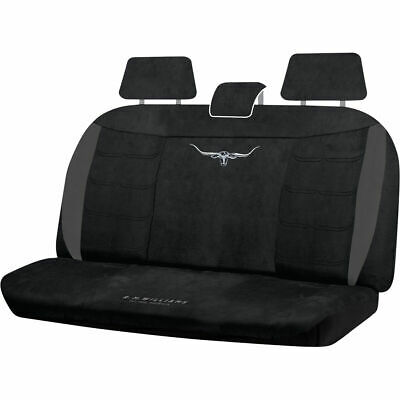 R.M.Williams Suede Velour Seat Covers - Black, Adjustable Headrests, Size 06H...