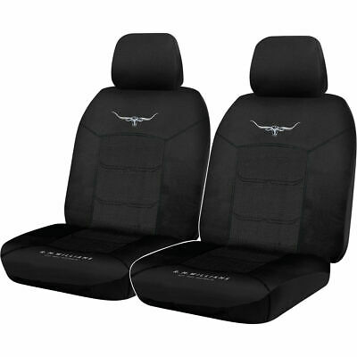 R.M.Williams Woven Seat Covers - Black, Adjustable Headrests, Size 30, Front ...