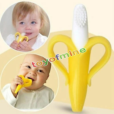 Cute Silicone Toothbrush Banana Shaped Safe Baby Teether Teething Cleaner Hot