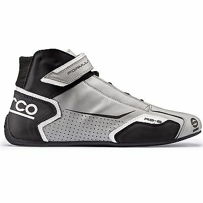 Sparco Formula RB-8 FIA Approved Leather Race Boots Silver/Black - UK 12/Eur 47