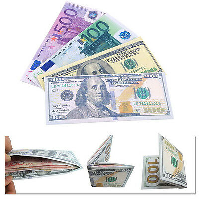 New Chic Unisex Mens Womens Currency Notes Pattern Pound Dollar Euro Wallets