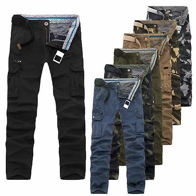 Mens Cargo Combat Army Cotton Military Camouflage Camo Pants Trousers Size 29-40