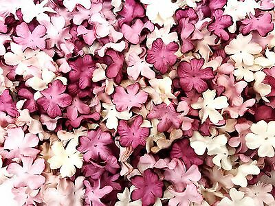 50 Mixed Purple Tone & White  Flowers mulberry paper for Craft & D.I.Y #02