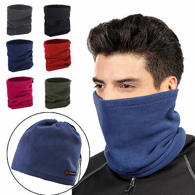 Winter Sport Thermal Fleece Scarf Snood Neck Warmer Face Mask Beanie Hat