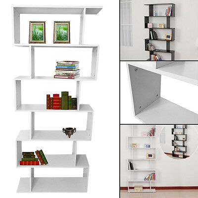 Room Divider 6 Tier Bookcase Ultra Modern Display Unit White Black Gloss Cabinet