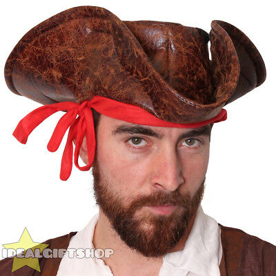 Brown Leather Look Caribbean Pirate Hat Adults Fancy Dress Tricorn Accessory