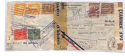 BA179 194 WW2 SALVADOR AIRMAIL Double Censored Cover GB Interesting Explanatory
