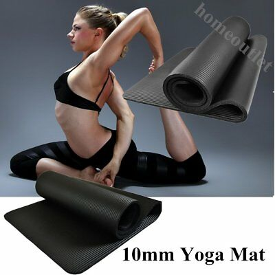 New Black 10Mm Thick Yoga/fitness/exercise/floor Mat Gym Class/workout Uk