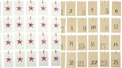 Paper Bag Advent Calendar White Brown Pre Christmas Count Down Gifts NEW