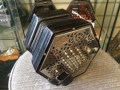 Wheatstone 48-Key English Concertina Metal Ends, Metal Buttons, Steel Reeds 1927