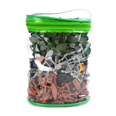 300pcs Painted Soldiers Army Men Plastic Military Miniature in Zipper Bag