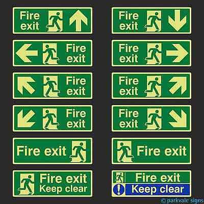 Photoluminescent British Standard Fire Exit Signs (400mmx150mm)