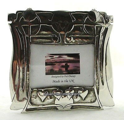 "Handmade Pewter Art Nouveau Design Photo Frame 3.1/2 x 3"" Made in England PC101"